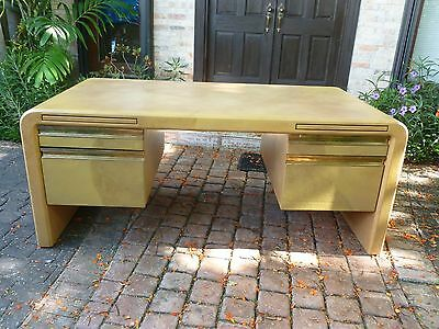 Signed Karl Springer Segmented Goatskin / Leather Covered Desk Dated 1982 P