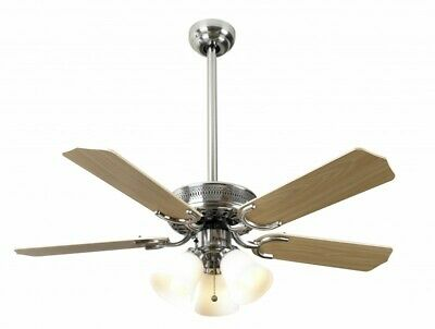 """Fantasia ceiling fan Vienna stainless steel with light and pull cord 107cm / 42"""""""