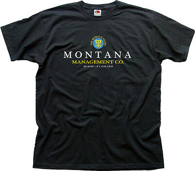 SCARFACE MOVIE MONTANA MANAGEMENT CO. black printed cotton t-shirt HG01540