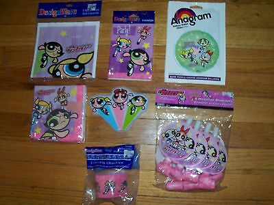 7pc Lot of Designware Powerpuff Girls Birthday Party Goods Multi-color 1999 NOS