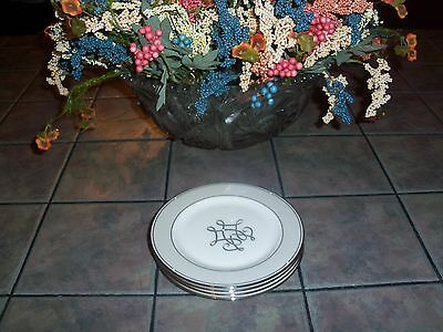 4 Lenox SCRIPTED PLATINUM Bread Plates: NEW with Tags!