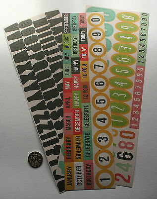SCRAPBOOKING NO 168 - 90+ piece ALPHABET NUMBER & MONTHS STICKERS  SALE TO CLEAR