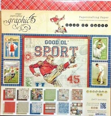 "Graphic 45 Good ol' sport collection 210gsm 24 scrapbook papers 12x12"" for men"