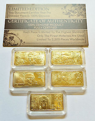 "Certified Set of 5 x 5 gram ""Polymer Note Series"" Finished in 999 24 k Gold"