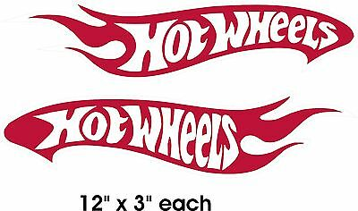 """2 Hot Wheels Decals Car Sticker Red and White Vinyl New 12"""" x 3"""" each"""