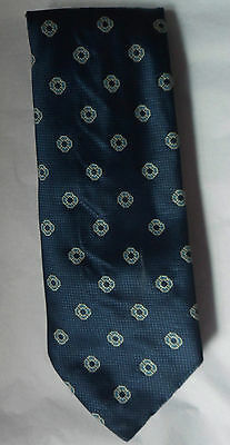 STYLE blue textured silk floral tie S12 Made in Italy vintage 70s