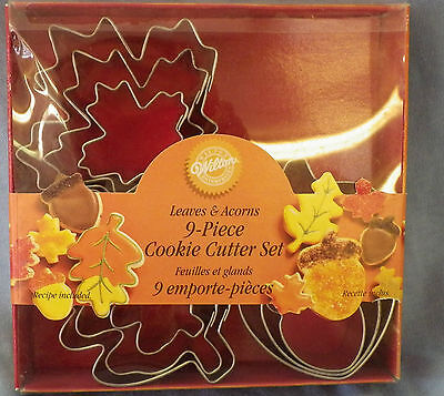 NEW Wilton 9 Pc Cookie Cutter Set Leaves & Acorns Different Sizes Fall Design