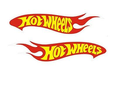 """2 Hot Wheels Decals Car Sticker Red Yellow and White Vinyl New 1.5""""x7"""" each"""