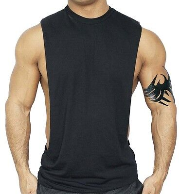 Men's Black Workout Vest Tank Top bodybuilding gym muscle fitness football shirt