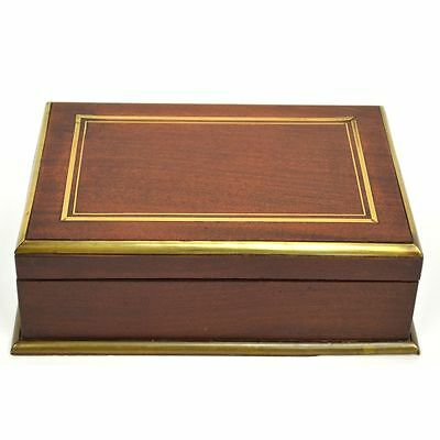 Very Nice Antique French Mahogany Inlaid Brass Jewelry / Cigar Box