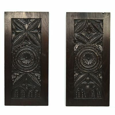 Pair Early 19th C. Antique Carved French Architectural Salvaged Gothic Panels