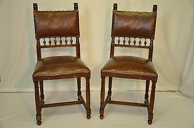 Antique French Pair of Leather Jacobean style Side Chairs Solid Walnut 1890's