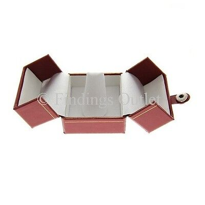 Snap-Tab Red Double Door Jewelry Finger Ring Boxes - 1 Dozen