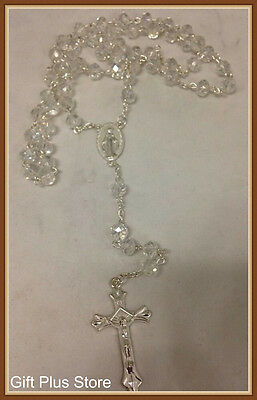 2X CLEAR Crystal ROSARY Beads Necklace With Crucifix i