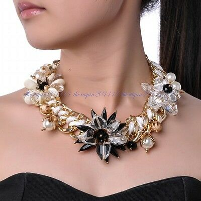 Fashion Jewelry White Pearl Crystal Resin Beads Flower Bib Statement Necklace