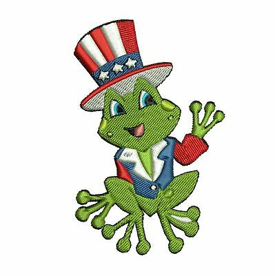 4th JULY FROGGIES 10 MACHINE EMBROIDERY DESIGNS 3 SIZES IMPCD