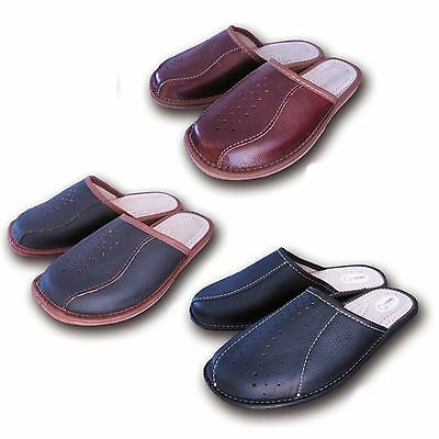 New Men`s Leather Slippers Black Brown Slip On Shoes 7 8  9 9.5 10.5 11 11.5