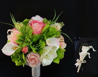 2pc set:real touch calla lily,silk roses beautiful bouquet&boutonniere-wedding