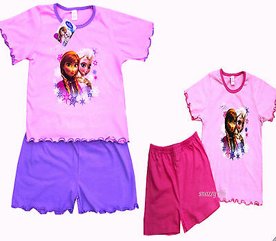 Girls Disney Princess FROZEN Cotton Short Nightwear Pyjamas Sleepwear Sets,1-4yr