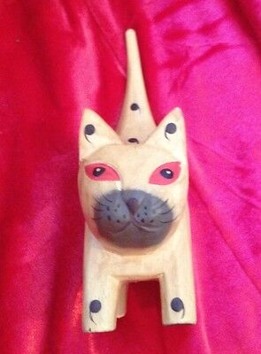 Ring Holder, Wooden Cat, Yellow Siamese, 4 inches tall Weird but cute