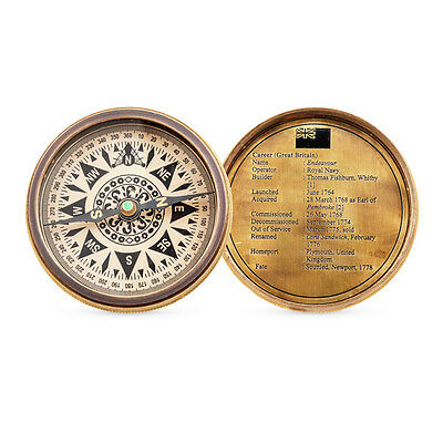Nautical Brass Compass Endeavour Ship Design on Cover Vintage Style