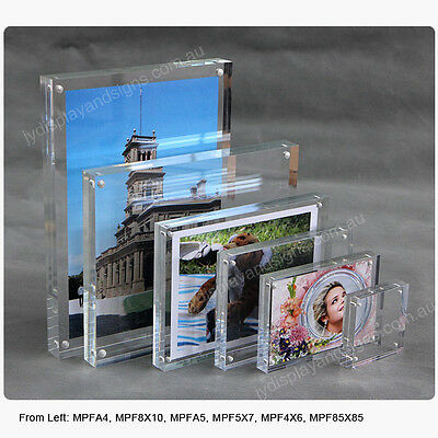A4 Premium Magnetic Clear Acrylic Photo Frame / Perspex Picture Holder