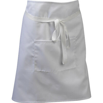 Waiter Waitress Professional Bistro Apron with Pocket Restaurant Bar Pinny White