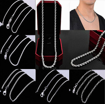 """Wholesale 1pcs Mens Womens 800 Silver All Kinds Chains Necklace 6 Style 16""""-30"""""""