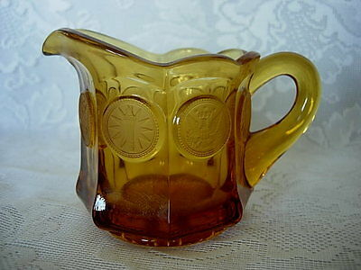 Collectible Vintage FOSTORIA Amber Coin Pattern Glass Creamer/Pitcher
