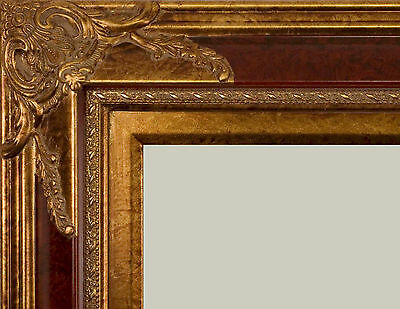 "PICTURE FRAME WOOD ORNATE MAROON GOLD FANCY WEDDING PHOTO ART CANVAS 4"" WIDE"