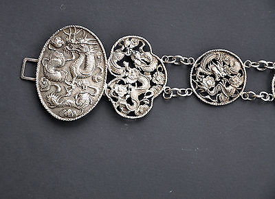 154 Gr Antique Chinese Export Solid Silver Dragon Belt Hallmark1900 China