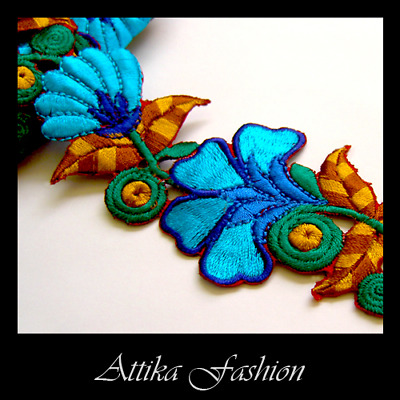 Blue FLOWER APPLIQUE MOTIF Cotton Silk EMBROIDERED LACE TRIM Leaf Stem 60mm Wide