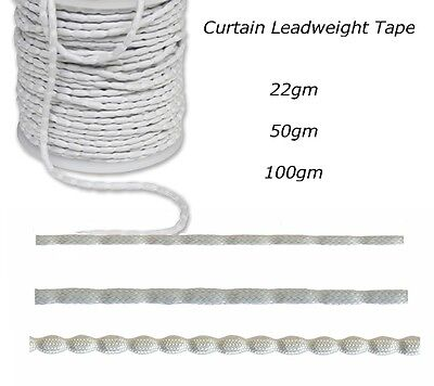50m or 25m of Curtain Lining Lead Weight Hem Tape - Leadweight - 22g, 50g, 100g