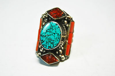 TURQUOISE & CORAL TIBET SILVER TRIBAL HANDMADE RING SIZE 8/fashionable