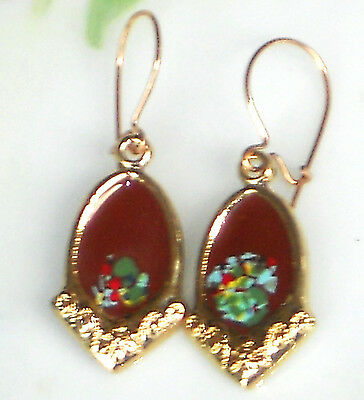 #1473G Vintage Earrings Guilloche Enamel Floral Gold Plated Victorian Dangles