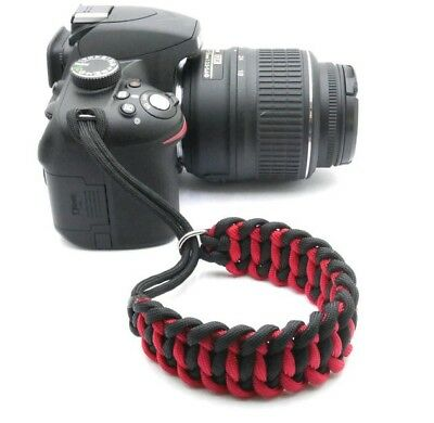"""The """"Cordy Cat Duo"""" Paracord Camera Wrist Strap - Black & Red - Handmade - DSLR"""
