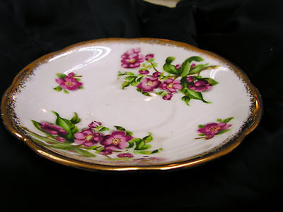 Napco China Saucer Violet Purple Flower Floral Gold Trim Hand Painted IDD 159