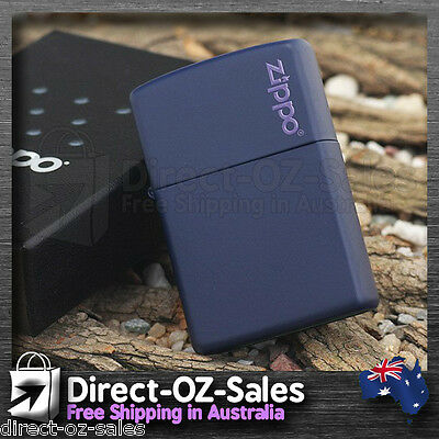 "Zippo Lighter "" Navy Blue Matte "" with Logo 239zl - Genuine - Free Post!"