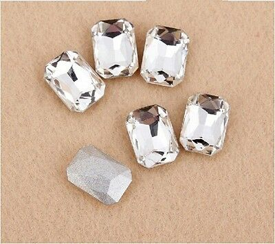 Clear rectangle rhinestone crystal bead glass foiled point back