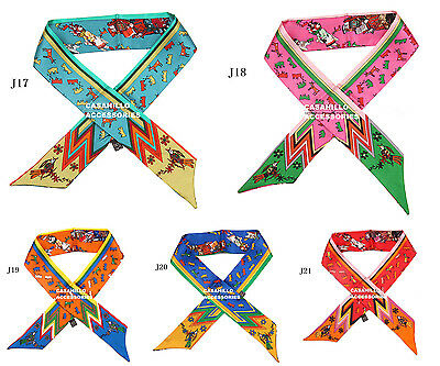 1pc 100% SILK EXCELLENT CONDITION MINI SCARF TWILLY BANDEAU WRAP RIBBON  BOW TIE