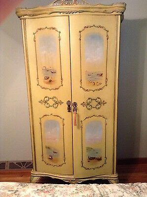 Antique French Bedroom Suite  Painted Beach Scenes 8 pieces