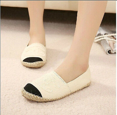Lady Casual Canvas Weave Espadrilles Slip On Comfort Loafers Boat Shoes Sneakers
