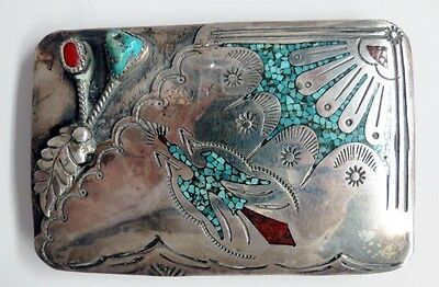 Hmij J Ortega Shop Navajo Sterling Turquoise Coral Chip Inlay Peyote Bird Buckle