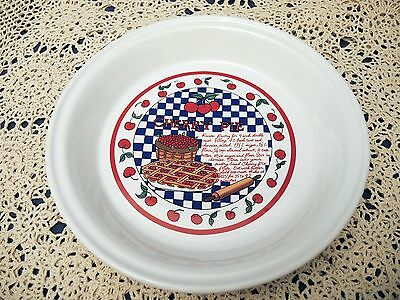 "Vintage Cherry Pie Plate with Recipe - 10"" - Deep Dish"