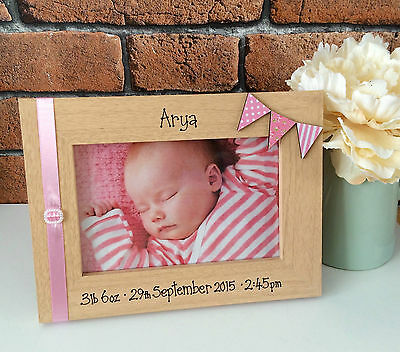 Handcrafted Personalised Photo Picture Frame New Baby Newborn Child Present Gift