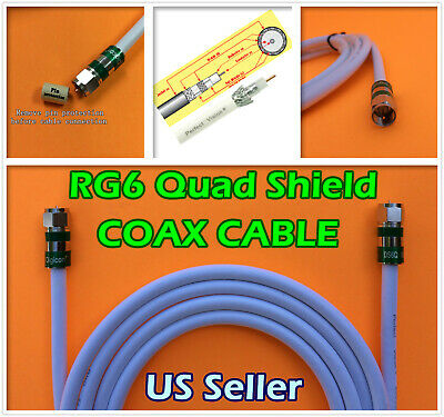 RG6 QUAD N F White Coaxial Coax 0.5-30 FT CCTV Cable Satellite Internet TV lot