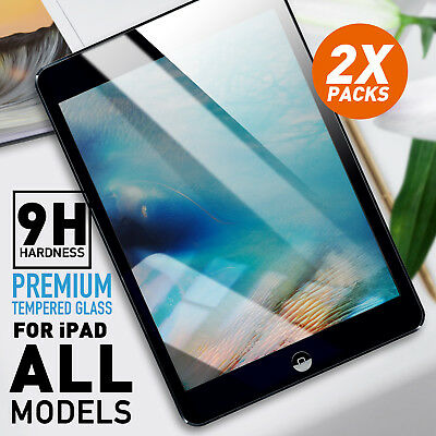 2 x Tempered Glass Screen Protector Film for Apple iPad 2 3 4 5 Air Mini Pro