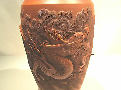 """SUPERB QUALITY TERRACOTTA 12""""  VASE WITH 3 CLAW DRAGON DECORATION"""
