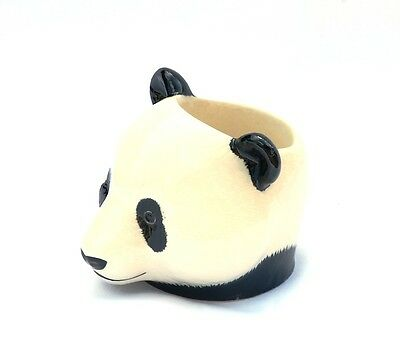 Panda Bear Face Egg Cup By Quail Pottery Asian Nature Animal Hand Painted Gift