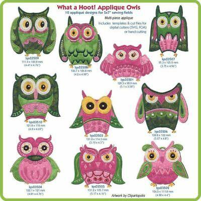 What A Hoot! Applique Owls Embroidery Designs By Lindee Goodall
